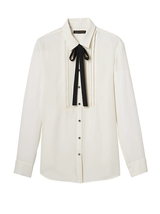 9c6c96ebbbd Banana Republic Womens Dillon-Fit Tuxedo Shirt With Tie White ...