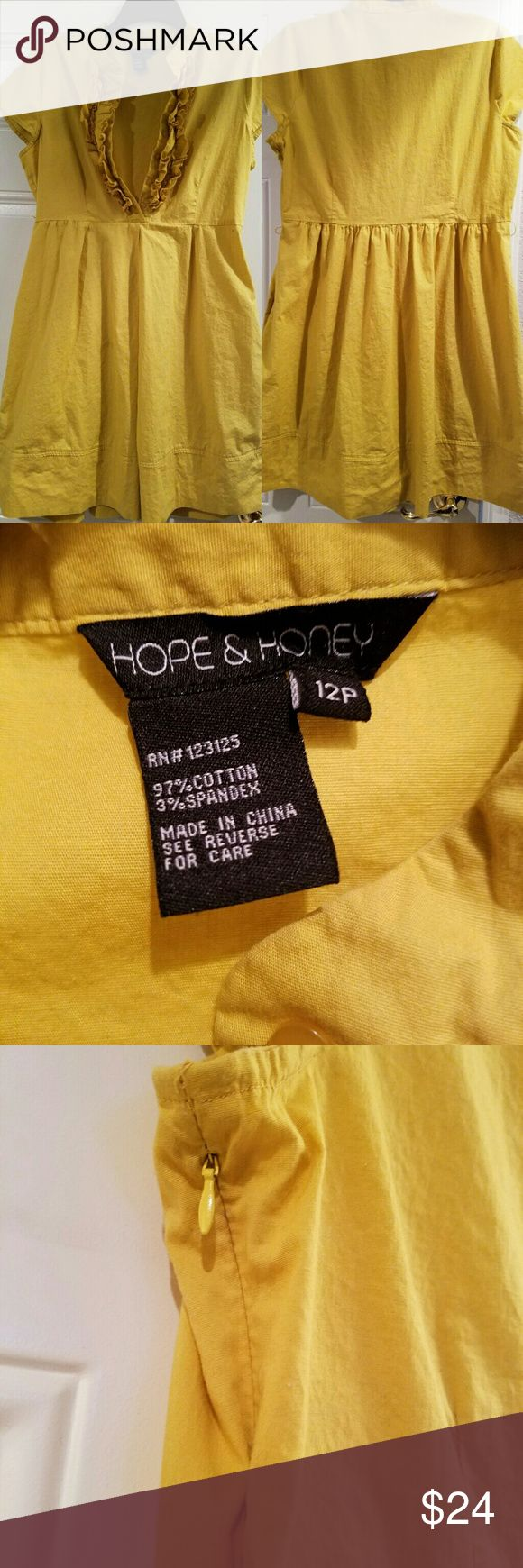 Hope & Honey yellow dress 12 petite ruffle top dress. Meausres 21 inches in lengrh from waist. Buttons in front are functional...gorgeous color of yellow. Zips under left arm. Bundle with black eyelet dress of same size! Hope and Honey Dresses