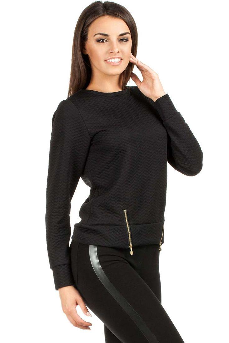Pikowana bluza w odcieniach kuszącej czerni z skośnymi  ozdobnymi suwakami z przodu