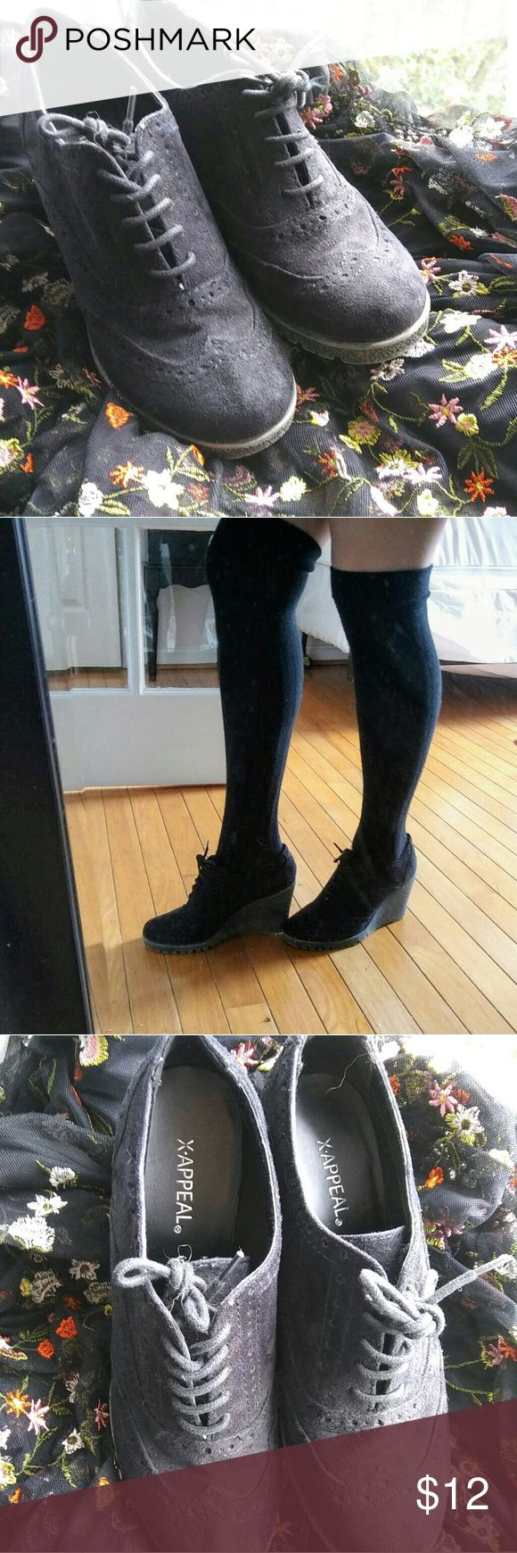 X-Appeal black oxford wedge booties These oxford wedge booties will add a cute intellectual vibe to any outfit. These are size 7.5 and have been worn 5 times. The soles, bottoms, and laces are in great condition, but the bottom heel is a little worn as seen in the photo. Therefore, these are very negotiable. Xappeal Shoes Ankle Boots & Booties