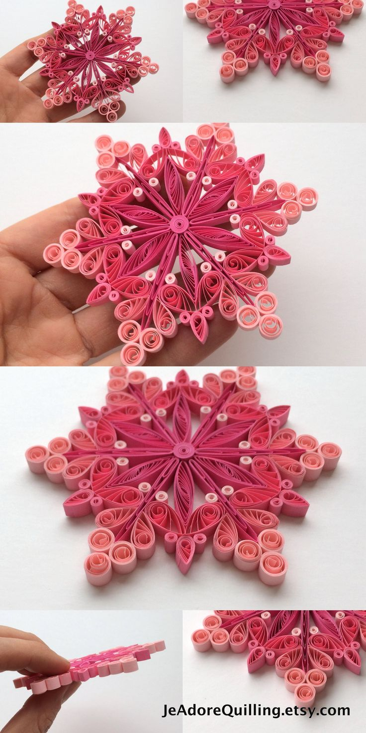 Snowflakes Pink Christmas Tree Decorations Winter Ornaments Gifts Toppers Fillers Office Corporate Paper Quilling Handmade Quilled Art