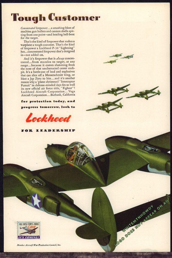 1943 WW II LOCKHEED P-38 Lightning Aircraft WWII WW2 Tough Customer Aviation AD