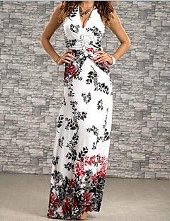 női kötőfék virág nyomtatás molett maxi ruha