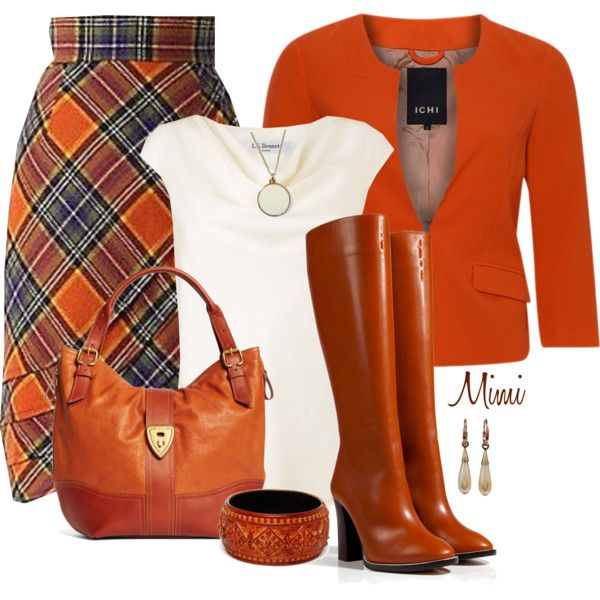 """Great fall colors! Love the top and skirt!   """"Tartan & Tall Boots"""" by myfavoritethings-mimi on Polyvore"""