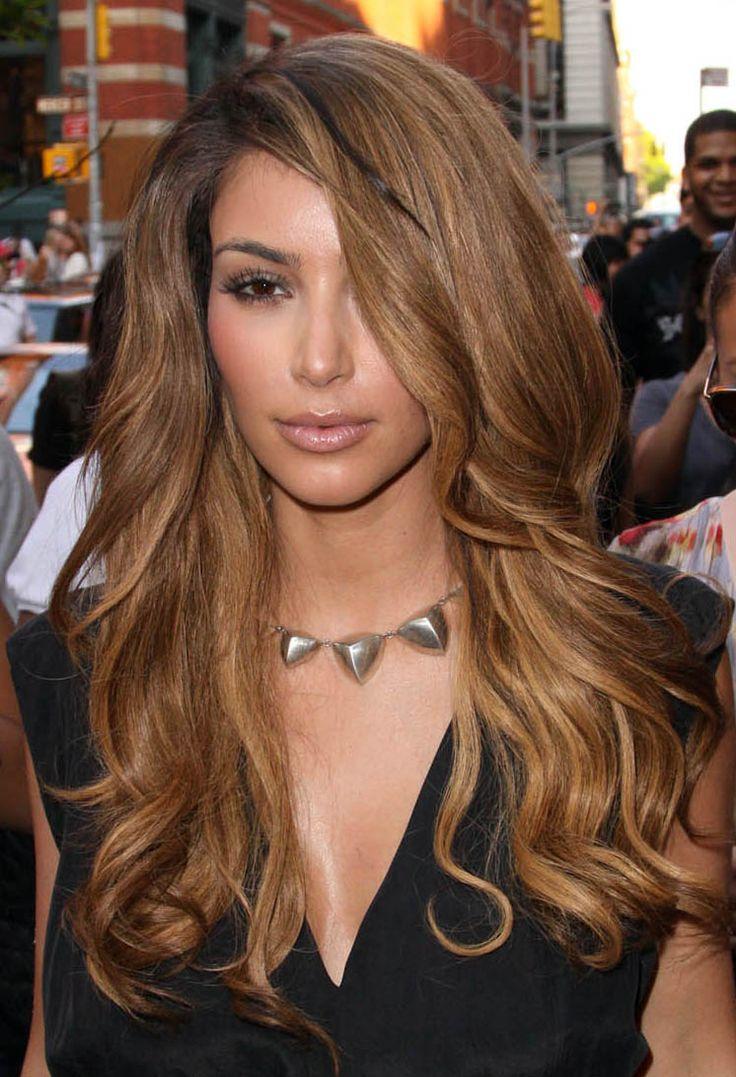 Big Teased Hair Kim Kardashian Light Auburn Hair Color