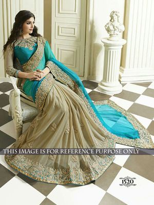 Turquoise Padding Silk Georgette & Chiku Lycra Half Desifner Saree With Blouse Bollywood Sarees Online on Shimply.com