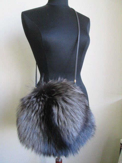 Women's New Silver Fox Fur Bag Purse Shoulder Bag Hand Muff Warmer #MadeinCanada…