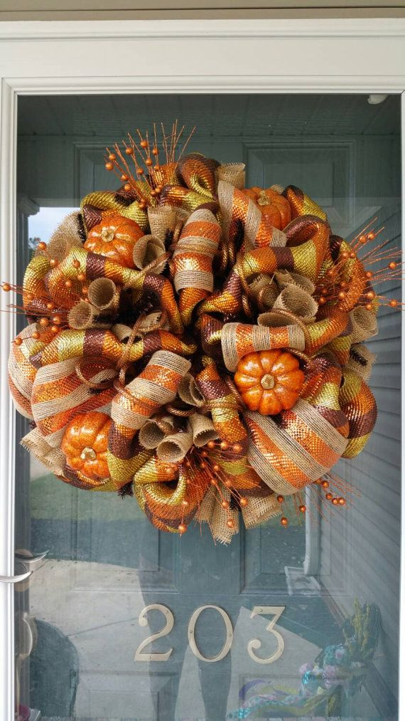 MTO Deluxe Deco Mesh Wreath for Fall, Halloween, and Thanksgiving