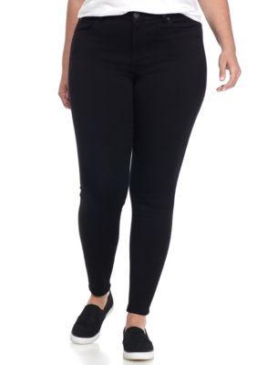 Celebrity Pink Girls' Plus Size Skinny Leg Stretch Jeans - Black Rinse - 24W