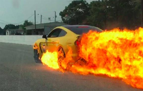 Ford Mustang GT Went Up In Flames On Race Track In The US