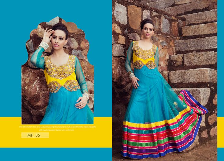 The combination of sky-blue and yellow georgette anarkali and-colored hemline makes you shine with embroldery Zardosi work on the yok. Product Code: MF_05 Price:$216 Mail: rangrezzfashions@gmail.com  #Fashion #Dress #Designersuites #NiceDesigns #Models #Beauty #colors #dresses #georgette #Red #Blue #goldzari #embroldery #sky-blue