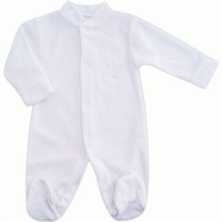Pyjama bébé mixte en velours blanc brodé L heure des câlins   Babystock e47aba30411