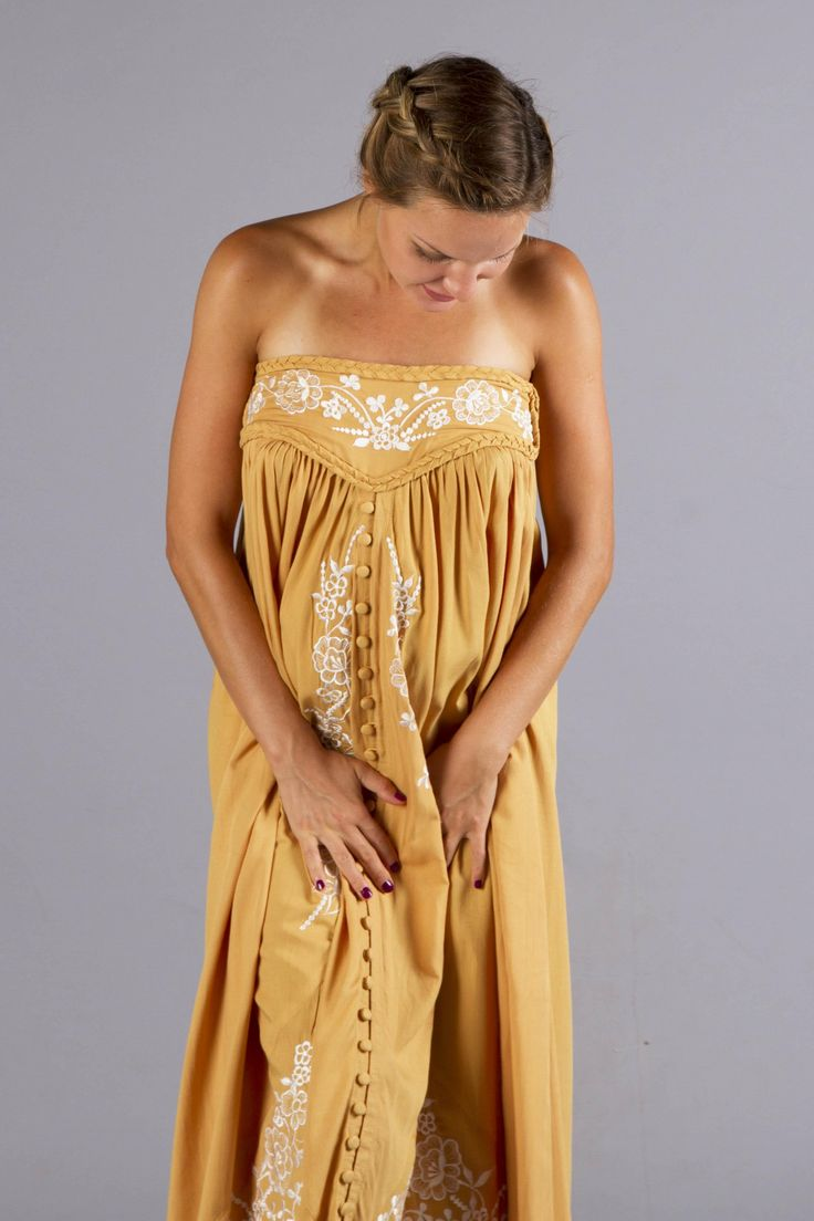 """Abbey Road"" maternity maxi skirt / strapless dress - Gold with floral embroidery Fillyboo - Boho inspired maternity clothes online, maternity dresses, maternity tops and maternity jeans."