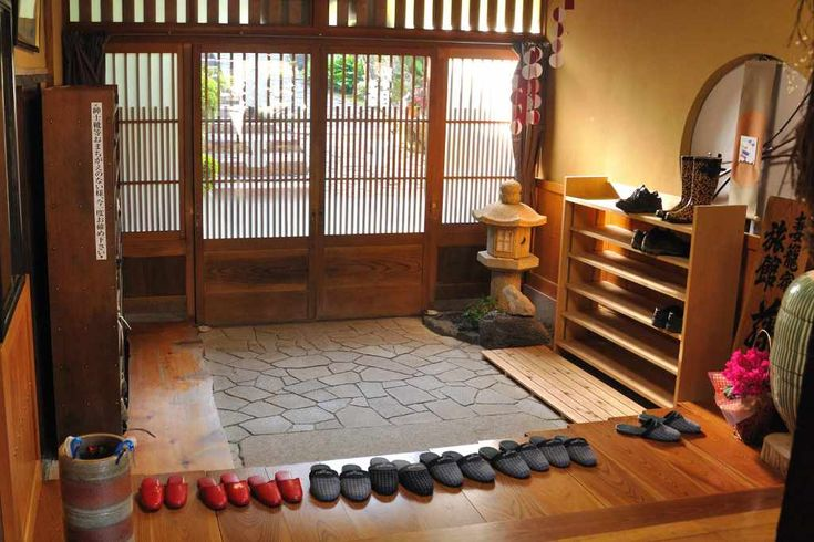 """The change in height from the genkan, stepping up and into the house is of particular cultural significance.   Just about every genkan will have a shoe closet, called a """"getabako"""" in Japanese  Another feature of the genkan is its practical use as an 'airlock', separating the heated inside rooms from the colder (often unheated) front entrance."""
