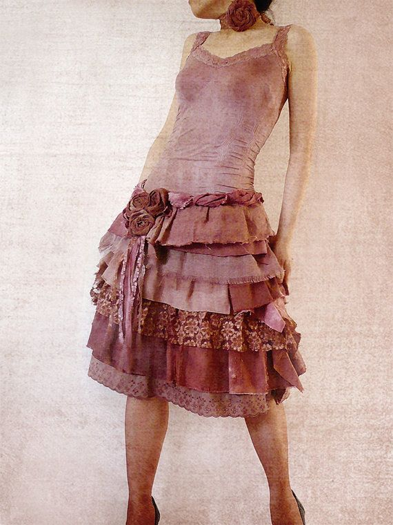 "Bohemian Grunge Pixie ""Shabby-Chic"" Dresses Bohomian Rustic Vintage Wedding Event Party Tattered by Zollection"