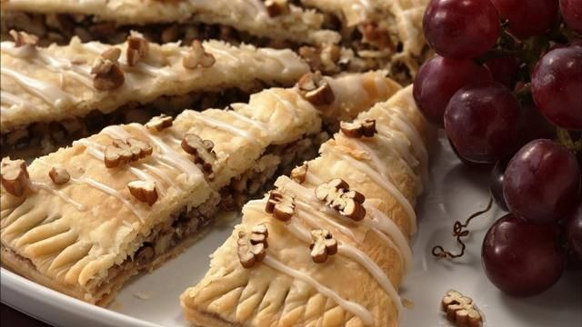 Easy Danish Kringle~Serve this nut-filled pastry with a compote of cut-up fresh fruit for an easy Christmas company breakfast.