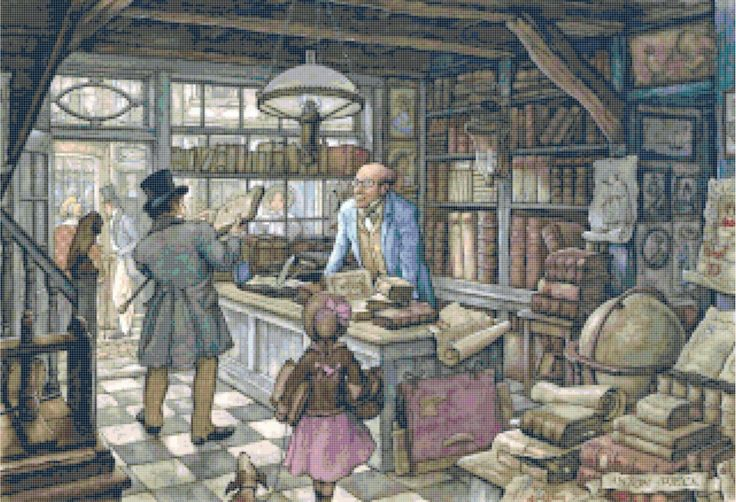 The Book Shop Anton Pieck Counted Cross Stitch Pattern