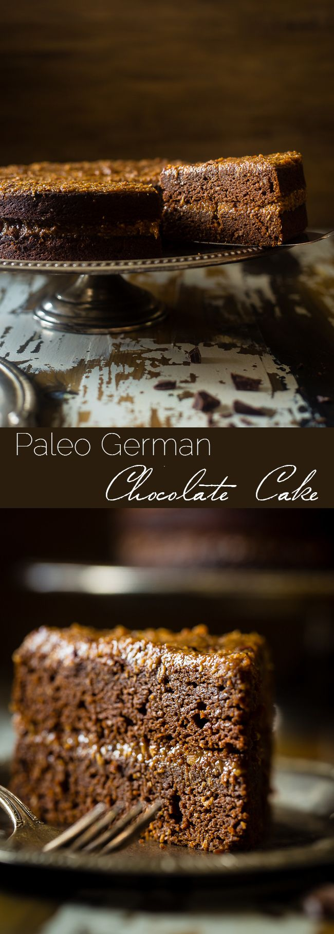 Paleo German Chocolate Cake - You'd never know this rich, moist German Chocolate Cake is a healthy remake that is paleo friendly and gluten, grain, oil, butter and refined sugar free! | Foodfaithfitness.com | @FoodFaithFit
