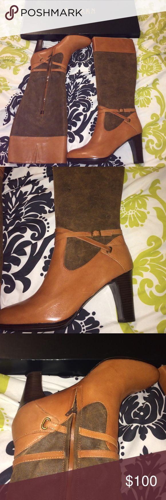 🆕📍LAURAN Ralph Lauren Brown/tan Heeled boots 10 Ralph Lauren Vachetta/ Oiled Suede. FRESH OUT THE BOOK‼️🎉🤗 NEVER WORN ‼️ 3 inch chunky heels. Lauren Ralph Lauren Shoes Heeled Boots