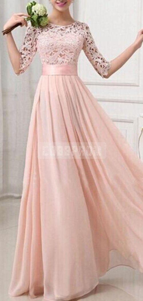 Half Sleeves Jewel Neckline A-line Lace Pink Bridesmaid Dress