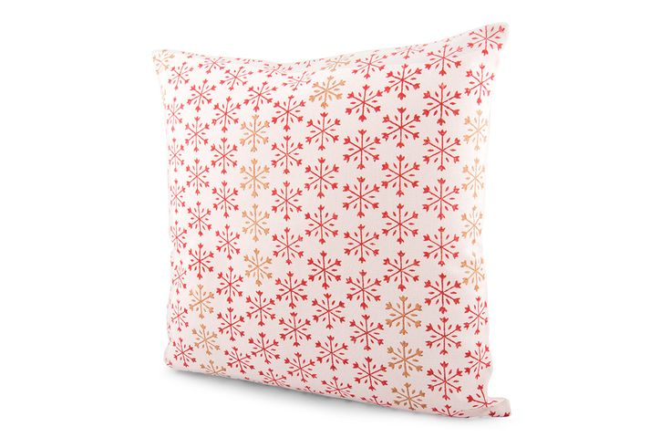 Block Printed Snowflake Cushion Cover by Suraaj Linens