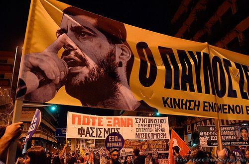Thousands of Greeks joined the antifascist protest on Wednesday evening in Athens, one week after the fatal stabbing of the anti-racism rapper Pavlos Fyssas by a supporter of the far-right Golden Dawn party.