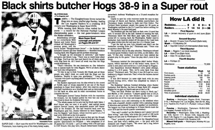 "A newspaper article about the 1984 Super Bowl, published in the Oregonian (Portland, Oregon), 23 January 1984. Read more on the GenealogyBank blog: ""NFL Family Trees: The Genealogy of 5 Famous Football Families."" http://blog.genealogybank.com/nfl-family-trees-the-genealogy-of-5-famous-football-families.html"