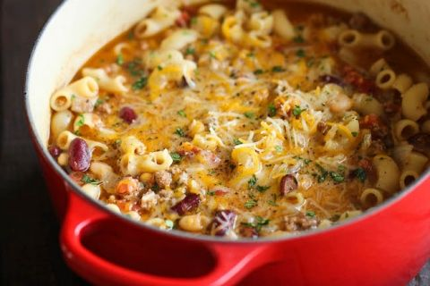 This was REALLY good...I used the whole can of both beans verses only 3/4 of a cup...turned out great!!  Next time I made it I added an extra tsp of chili powder, increased the elbow noodles to about 2 cups, and of course added extra cheese...made it sooo much better!!  :)  One Pot Chili Mac and Cheese - Two favorite comfort foods come together in this easy, 30 min one-pot meal that the whole family will love!
