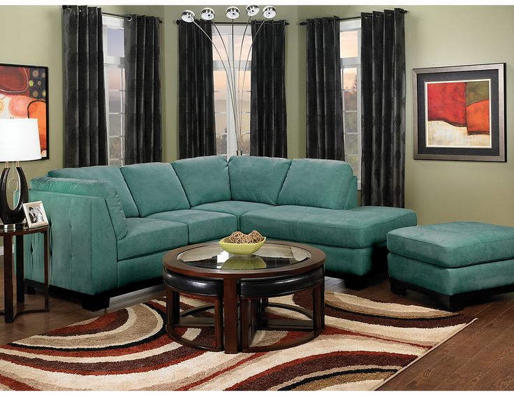 Oakdale 2-Piece Microsuede Sectional w/Right-Facing Chaise - Azure, (OAKAZ-R2) | The Brick
