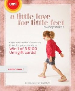 Celebrate Valentine's day with Umi Shoes! Enter for a chance to win 1 of 3 $100 Umi gift cards!