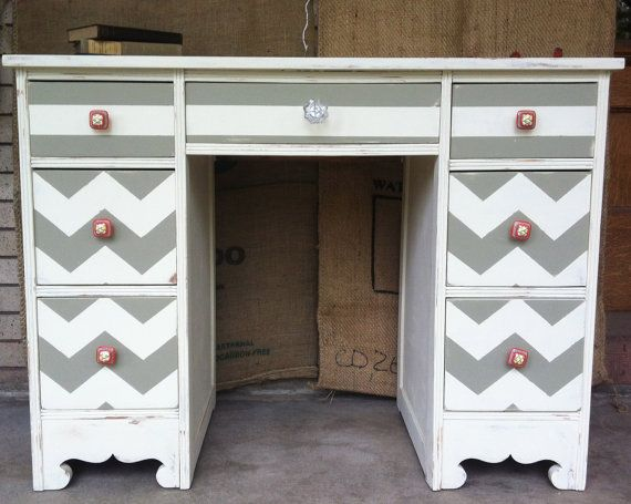 Unique Chic Chevron Desk by thompsontori on Etsy, $300.00 ** Looks just like the one I bought at a yard sale for $5 and a good paint pattern to use for it- for less. ** TT