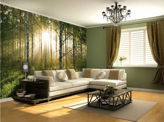 Definitely having a wall mural like this in living room. Brown main features-wooden furniture, brown fabric sofa with complimenting colours. greens, pinks, purples.
