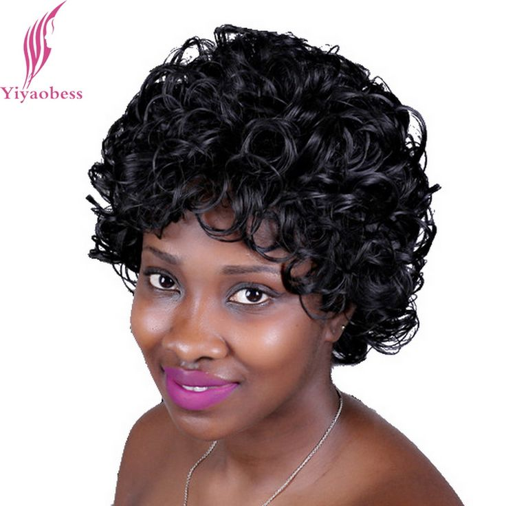 Yiyaobess 25cm Short Black Curly Wig For Mother Heat Resistant Synthetic Natural Hair Wigs For African American Women