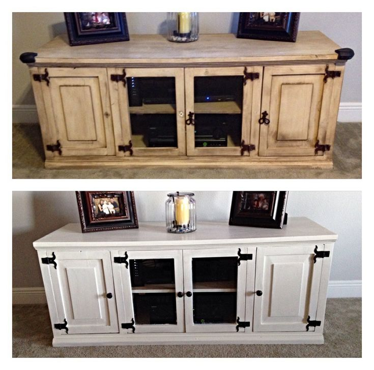 TV STAND UPDATE with milk paint.