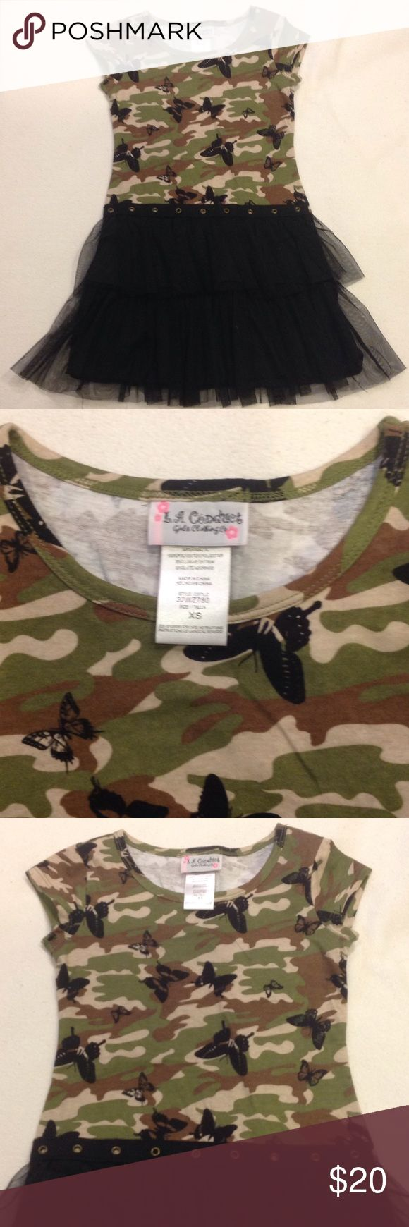 Girls camouflage dress camouflage top and tulle bottom great for every occasion L.A. conduct Dresses Casual