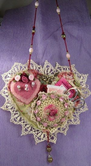 """I ❤'s . . . Shabby Chic Chatelaine- My first try, making this """" Chatelaine"""" for a group swap, the little crochet pocket holds your scissors & needles, the little felt heart is a pin cushion, it hangs like a necklace so everything is at your finger tips."""