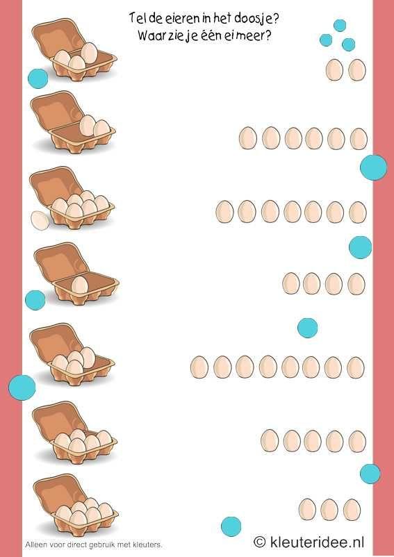 Waar zie je één ei meer, kleuteridee.nl , rekenen met kleuters, Where do you see an egg more, free printable.