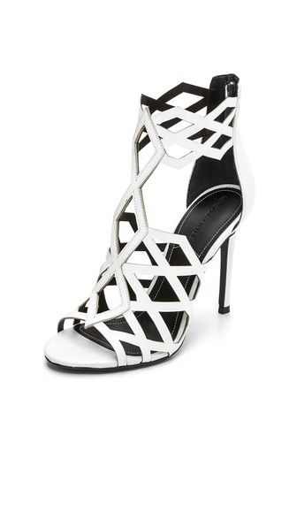 KENDALL + KYLIE Elena Lattice Sandals in White - $160