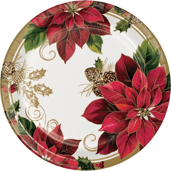 Golden Poinsettia Greenery 10 Inch Plates Christmas Tableware Christmas Party Decorations Poinsettia