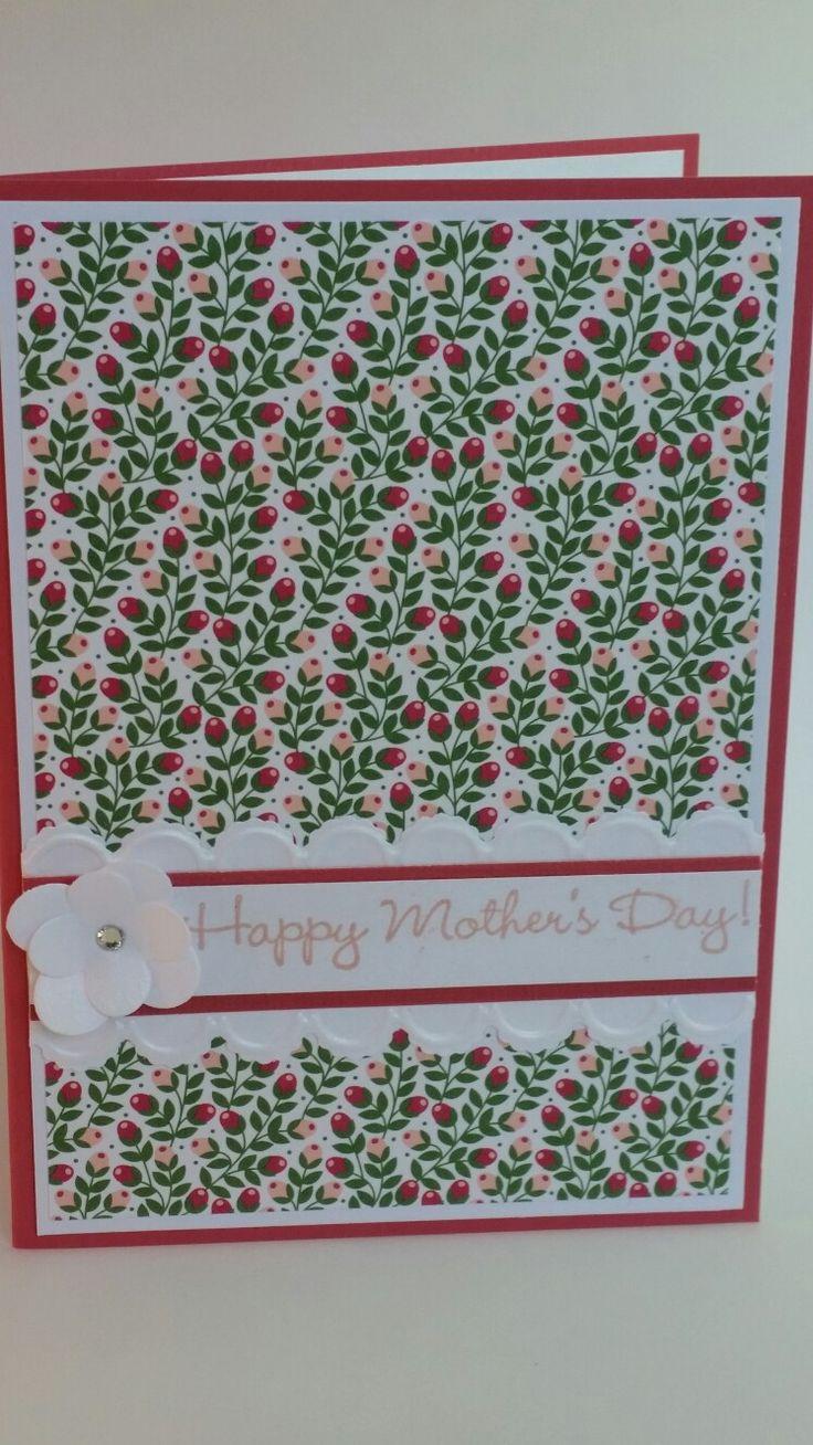 Flower framelits embossed scallop edge happy mother's day handmade card