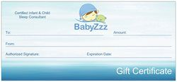 BabyZzz gift certificates are a great baby shower gift!