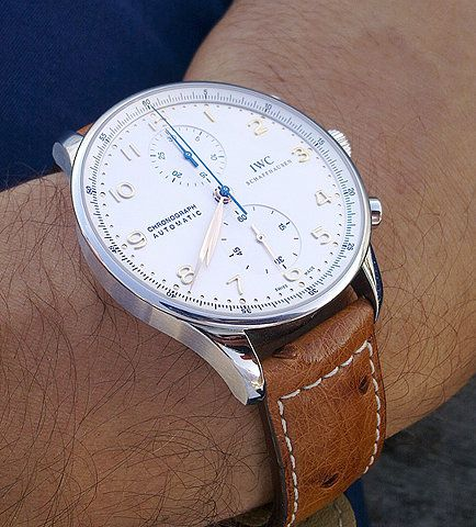 IWC Portuguese Chronograph on ostrich strap with contrast stitching. The stunning looks of IWC watches cannot be denied (they design A. Lange Söhne's cases).