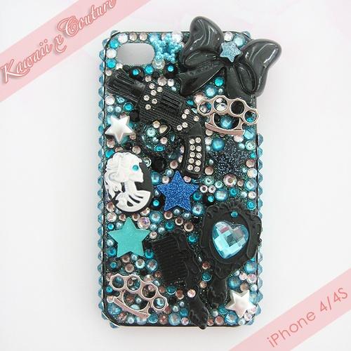 Black & Aqua Theme Deco iPhone Case | $60.00    SHOP: www.etsy.com/shop/kawaiixcoutureHandmade decoden phone cases, jewelry, & accessories ♡