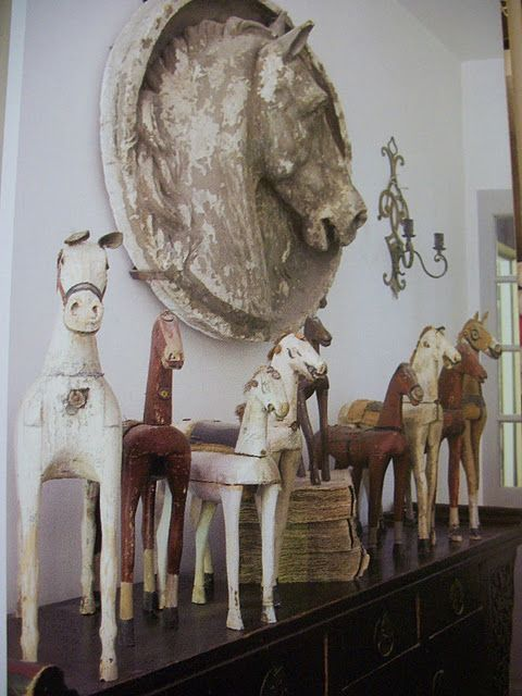 Equestrian style antiques make for great home decorations via A House Romance. #homedecor #equestrian