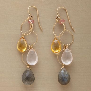 HOOPLAH EARRINGS�--�Drops of golden citrine, rose quartz and luminous labradorite sway and play with three slender hoops of 14kt goldfill wires. By Thoi Vo. USA. Exclusive. 2-1/4L.