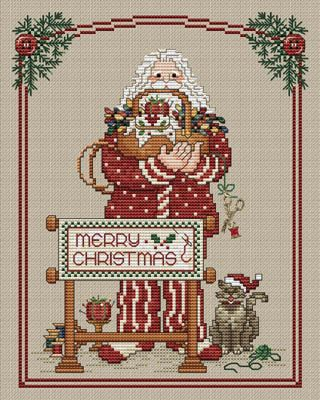 Stitching Santa - Loved doing this ....I changed the cat to my little Maltese!!