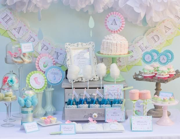 What a sweet party!!   Hostess with the Mostess® - April Showers Bring May Flowers: Shower Ideas, Birthday Parties, April Shower, Parties Ideas, Shower Parties, Shower Theme, Desserts Tables, Baby Shower
