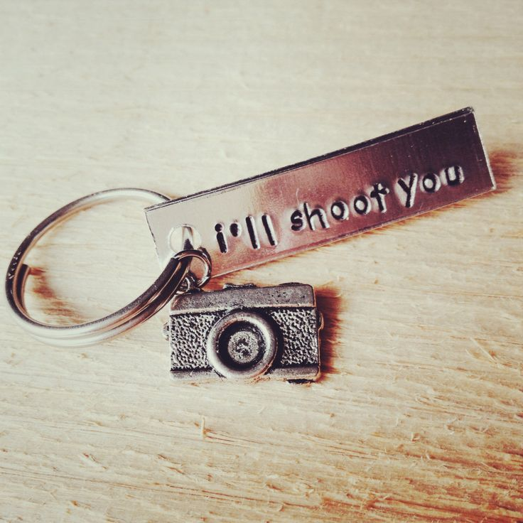 photographer's keychain, camera charm, gift for photographer, i'll shoot you, photographer, photography, funny gift, graduation gift by Bstamped on Etsy https://www.etsy.com/listing/191167756/photographers-keychain-camera-charm-gift