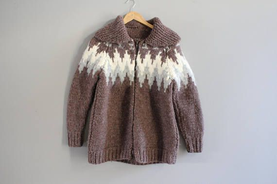 Hand knitted Cowichan Chunky Knit Cardigan Brown Nordic