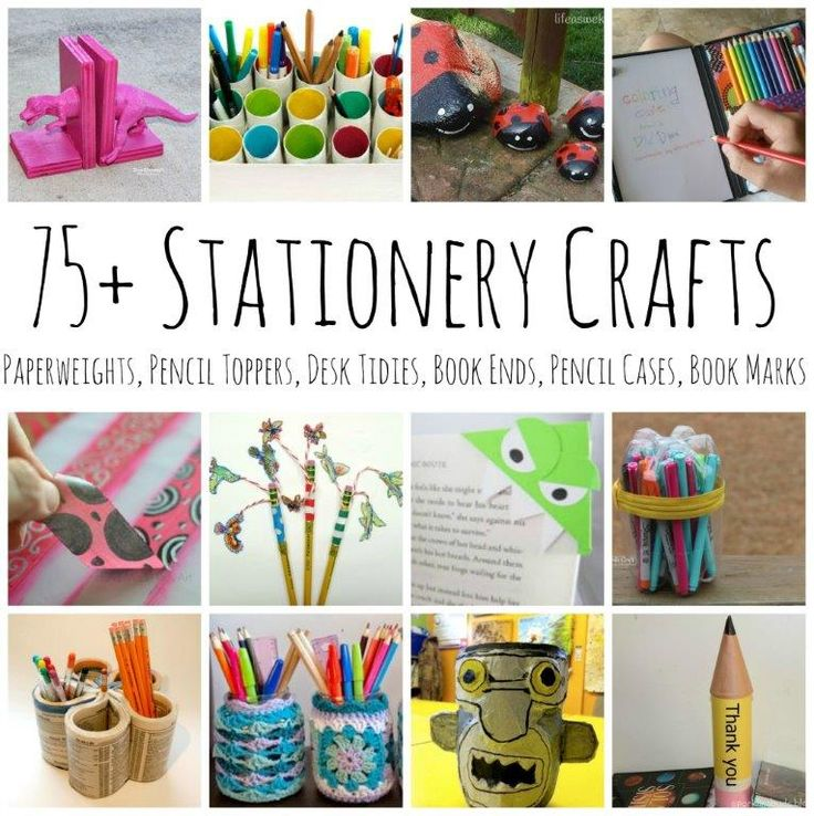 Over 75 Stationery Crafts - for stationery lovers - from book ends, to pencil pots, to paper weights and pencil toppers #stationary #craft